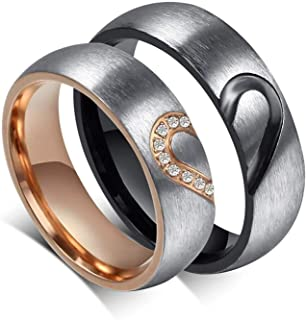 YouBella Jewellery Heart Shape 100% Stainless Steel Never Fading Couple Rings for Girls/Women and Boys/Men