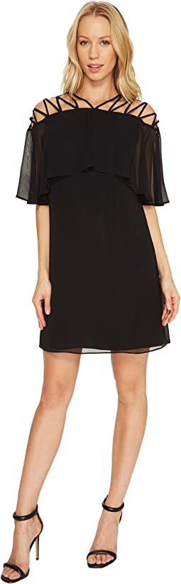 CeCe - Taylor - Popover Lattice Chiffon Dress