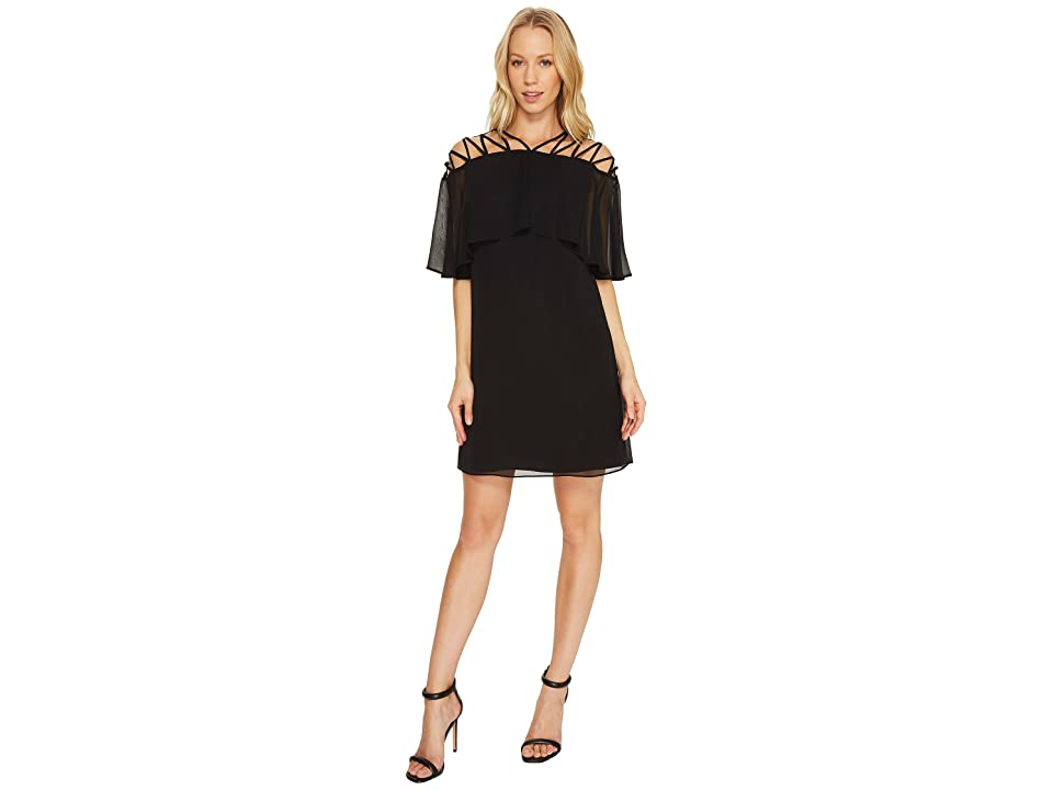CeCe Taylor Popover Lattice Chiffon Dress (Rich Black) Women