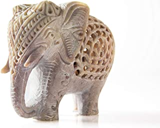 """StarZebra - White Lucky Elephant Soapstone Figurine with Elephant in Belly Statue 4"""" Handmade in Jali or Openwork From a Single Block of Stone From India gift"""