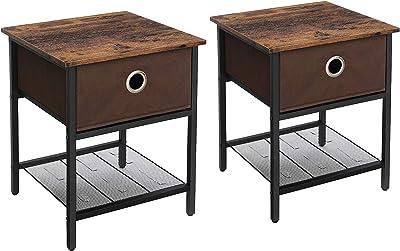 VASAGLE Lot de 2 Salon, Table de Chevet avec tiroir en Tissu, Structure résistante en Acier, pour séjour, Chambre à Coucher, Assemblage Simple, Marron Vintage et Noir