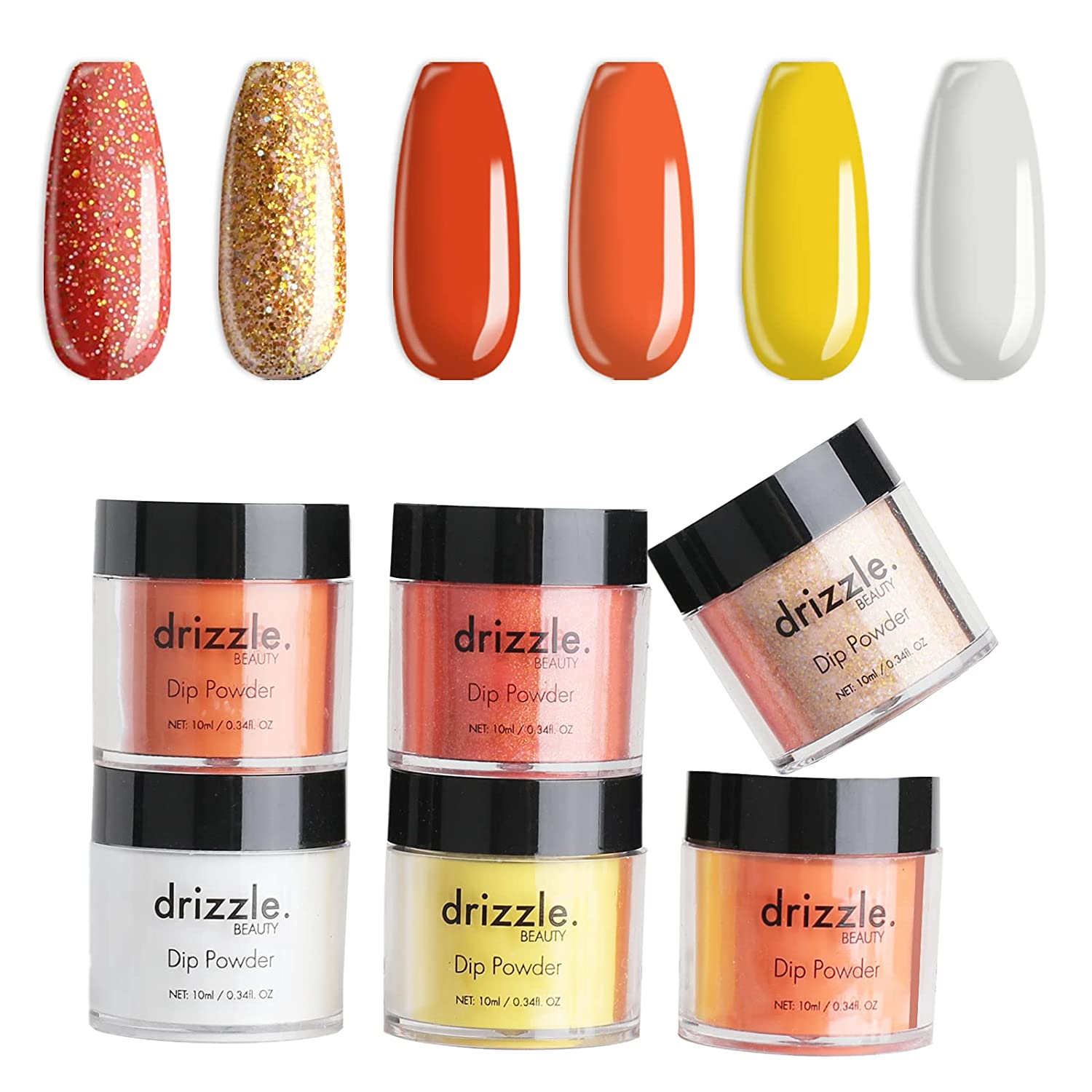 Popular brand Drizzle Dipping Nail Powder Set - Series famous Orange 6 Gillter Colors