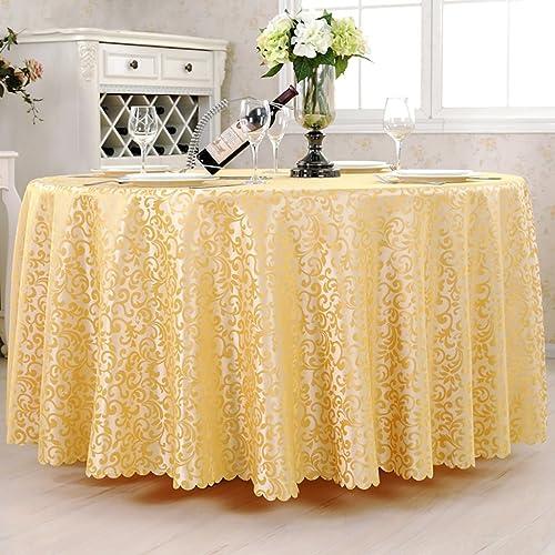 Hongsebuyi Tischdecke, Polyester, Gelb Jacquard Runde Tischdecke Einzigartige Party Tisch, Geeignet Für Das Restaurant, Cafe, Hotel, EuropäischenStil (Größe   Rond-340cm)