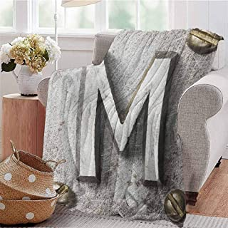 Luoiaax Letter M Luxury Special Grade Blanket Zinc Iron Steel Alphabet Typeset with Grunge Scratched Texture Industrial Image Multi-Purpose use for Sofas etc. W80 x L60 Inch Silver Gold