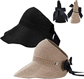 Summer Straw Beach Sun Visor Ponytail Hats for Women UPF Protection Foldable Floppy Cute Bowtie