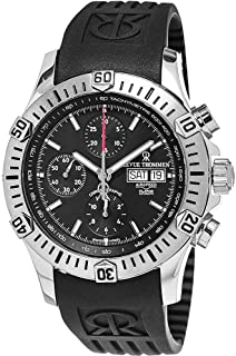 Revue Thommen Airspeed XLarge Diver - Black Dial Chronograph Day Date Revue Thommen Watch Mens - Black Rubber Band Swiss Revue Thommen Automatic Watch 16071.6839