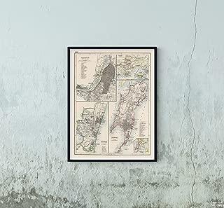 1906 Map|World Atlas Calcutta Kolkata. Madras Chennai. Bombay Mumbai. Aden. Perim|Vintage Fine Art Reproduction|Size: 18x24|Ready to Frame