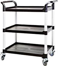 JaboEquip, 3 Shelf Heavy Duty Service Cart, Rolling Utility Cart 275 kg Load for Lab and Hospitality, JB-300, Black