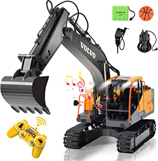 RC Excavator 3 in 1 Construction Truck 17 Channel 1/16 Scale Full Functional with 2 Bonus Tools Remote Control Excavator Construction Tractor
