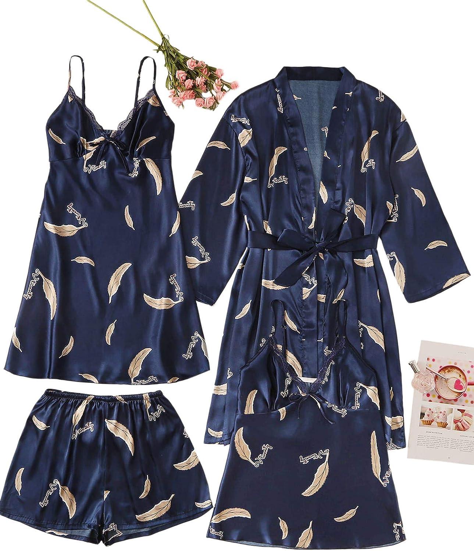 WDIRARA Rapid Max 66% OFF rise Women's 4 pcs Floral Print Dress Satin Pajam Shorts Cami