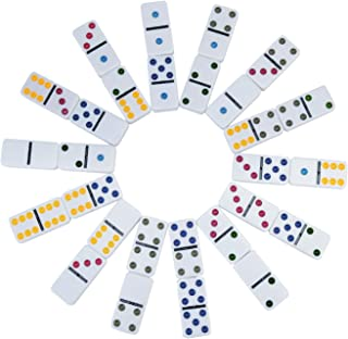 Ksamor Dominoes Set – Double 6 Dominoes with Color, 6 Dot Dominoes Set Well Painted with Tin Box, 28 Piece Set for Kids and Families