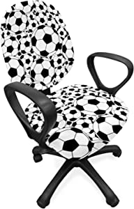 Ambesonne Soccer Office Chair Slipcover, Monochrome Design Pattern of Classical Football Balls Boys Cartoon Pattern, Protective Stretch Decorative Fabric Cover, Standard Size, White Black