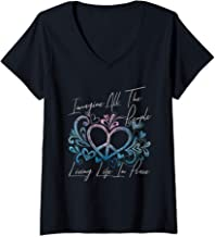 Womens Imagine Hippie People Living Life in Peace and Love Gift V-Neck T-Shirt