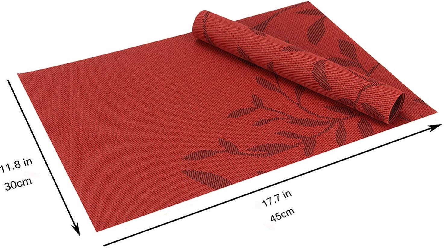 45 x 30 CM Lot de 6 Gris+ Argent/é Table /à Manger en Cuisine ou Salle /à Manger CHAOCHI Sets de Table PVC Antid/érapant Lavable R/ésiste /à la Chaleur Rectangulaire Vinyle Set de Table pour Restaurant