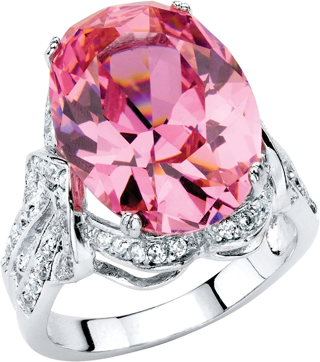 Palm Beach Jewelry Platinum Plated Oval Shaped Pink and Round White Cubic Zirconia Cocktail Ring