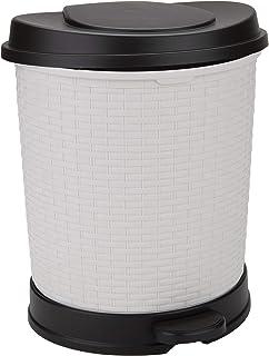 Mind Reader Rattan, Garbage Bin, Trash Can with Lid, 21 Liter/5.5 Gallon, Ivory