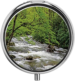 HOOSUNFlagrbfa Streaming Water Creek in Spring Forest Trees and Bushes Pill Case Round Tablet Medicine Pocket Purse Travel Pill Box Holder