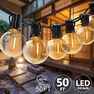 Svater LED Outdoor String Lights, 50FT Patio Lights with 46pcs E12 Socket, 50pcs 2700K Warm White G40 Bulbs,Indoor/Outdoor Hanging String Lights for Cafe Garden Backyard
