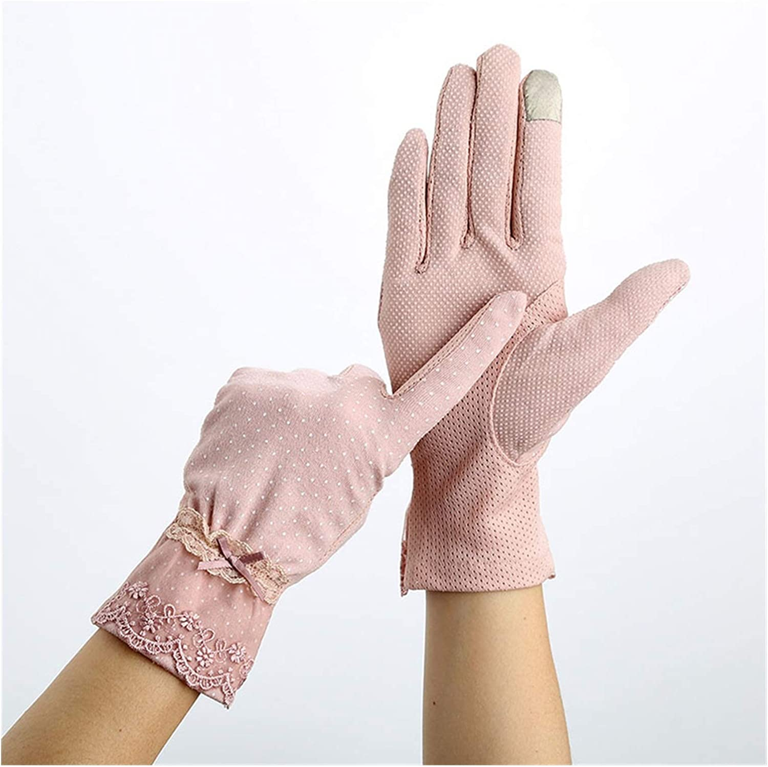DMYONGLIAN Lace Gloves Women Sunscreen Gloves Summer Lace Stretch Touch Screen Mitten Anti-UV Wrist Short Slip Resistant Driving Glove Accessories (Color : Pink, Gloves Size : One Size)