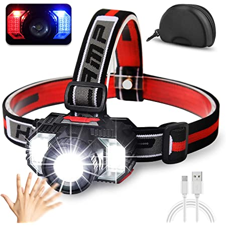 Cobiz [2021 Newest] LED Headlamp Flashlight 1000 Lumen Multifunctional-Rechargeable Work Light with Button&Motion Mode-Running,Camping,Outdoor Waterproof-Best Head Lamp with Red&Blue Flash Lights