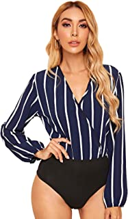 WDIRARA Women's Casual Surplice Front Striped Print Colorblock V Neck Bodysuit
