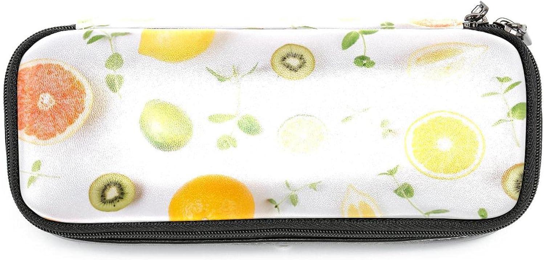 Big Capacity Pencil Case Fruit Max 46% OFF Slice Leather Bag Denver Mall S Leaves