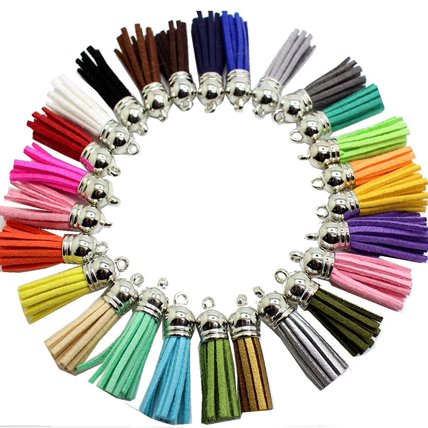 41 pcs of Mix Colors Leather Tassel with Silver White Caps Cell Phone Straps/DIY Charms