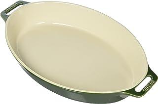 STAUB Ceramics Oval Baking Dish, 14.5-inch, Basil