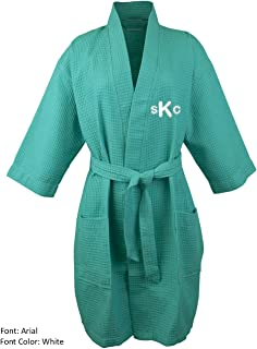 BC BARE COTTON Personalized Monogram Make Your Own Custom Thigh Lenght Waffle Kimono Robe - Aqua - One Size