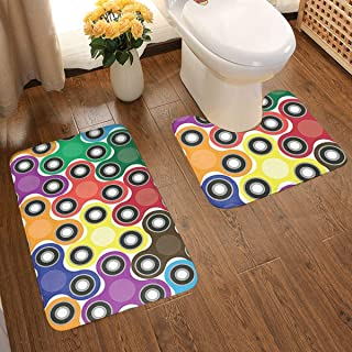 HUNANing 2 Piece Plush Large Bathroom Rug Mat Set, Fidget Spinner Pattern,Extra Soft and Absorbent Rugs,Toilet Set