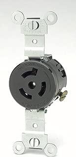 Leviton 4560 15 Amp, 250 Volt, NEMA L6-15R, 2P, 3W, Single Locking Receptacle, Industrial Grade, Grounding, Black