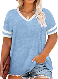 Womens Plus-Size Tops Summer V Neck T Shirts Striped...