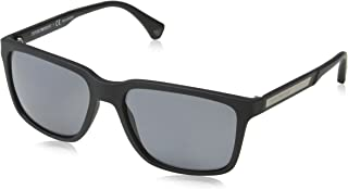 Emporio Armani EA4047 506381 Black Rubber/Grey Polarized Sunglasses