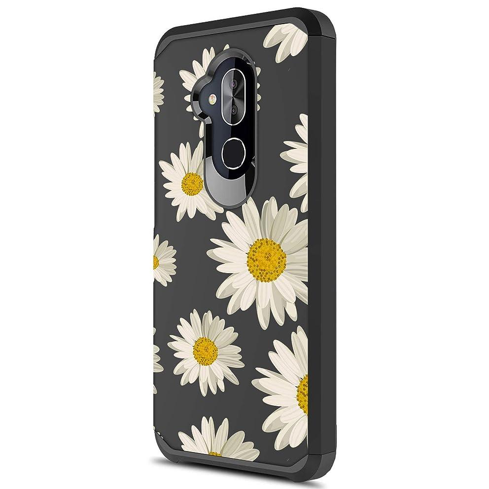 MINITURTLE Case Compatible Alcatel Revvl 2 Plus/Alcatel 7 [Floral Print Series][Cute Hybrid Case Girls][Floral Print][2-Part Silicone & Shell Case] - Daisy Print