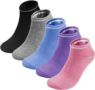 Calcetines Pilates Yoga, 5 Par(Negro/Gris/púrpura/Polvo/Azul) Calcetines Antideslizantes de Deporte Traspirable Mujer para Yoga, Hospital, Pilates