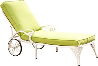 Home Styles Biscayne Chaise Lounge Chair, White/Green Apple