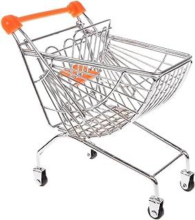 MagiDeal Mini Carrito de Compras de Metal de Supermercado Vendedor Muestra Pretender Juego para Niños - Naranja, B
