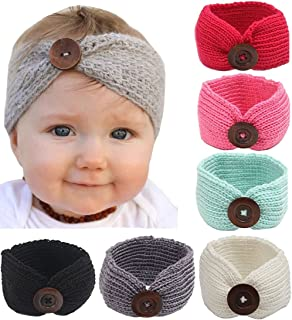 6-Pack Baby Boy Girl Button Headbands Knit Head Wrap Knotted Hair Band