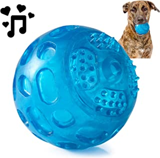 PJDH 3.2 Inch Durable Pet Dog Balls Toys Rubber, Indestructible Dog Toy Ball, Squeak Dog Ball Training Playing