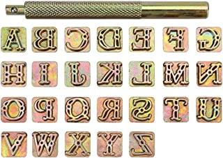 Yoption 27 Pieces Leather Stamping Tool Set, 26 Letters Alphabet Stamps Steel Punch Tool 9mm+1 Stamping Handle for Leather Craft (9mm)