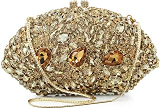 Perfect Home New Diamond Crystal Rhinestone Rhinestone Metal Banquet Clutch Women Fashion Chain Shoulder Bag Tote Size: 18 * 5 * 11cm (Color : Gold)