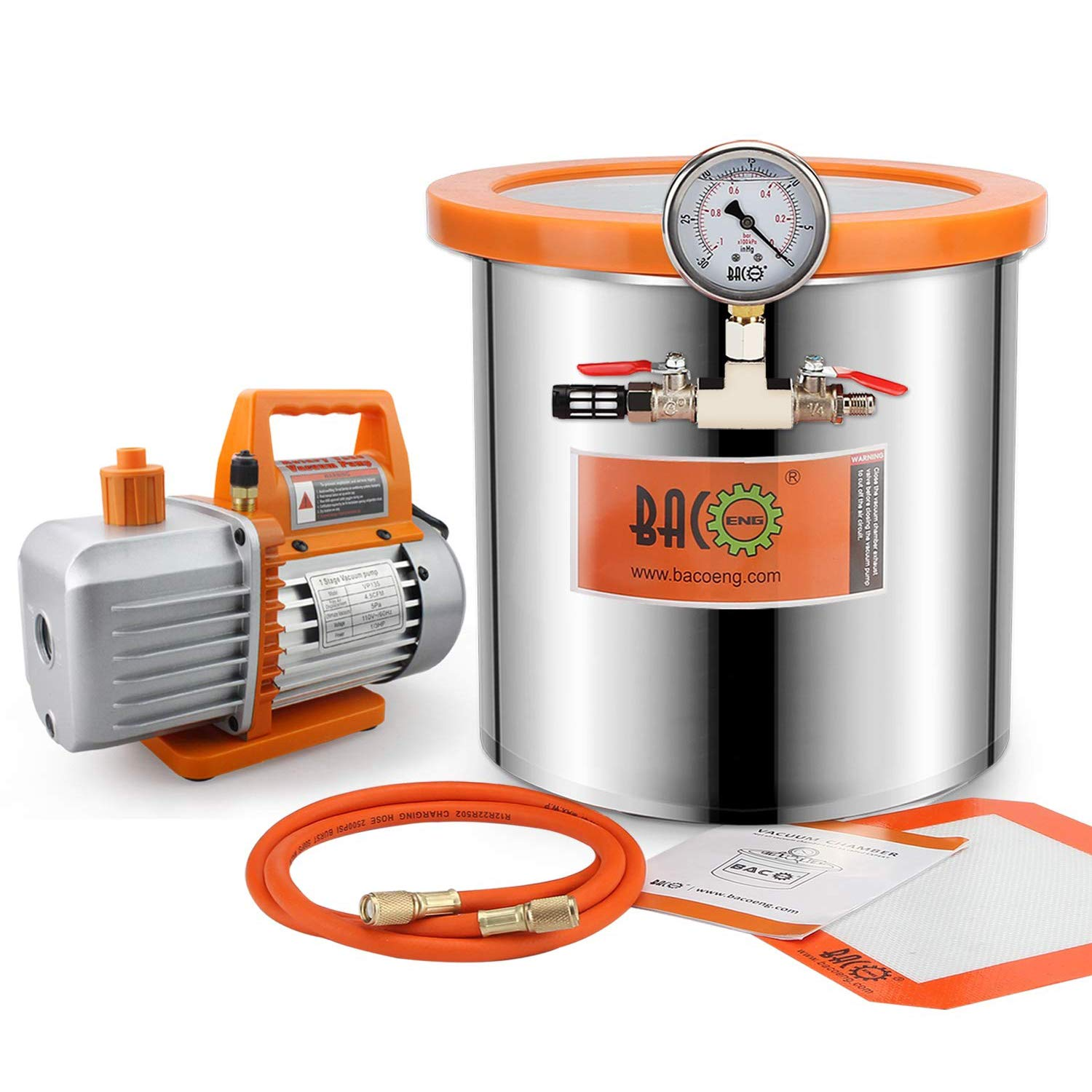 BACOENG 3 Gallon 4.5 low-pricing CFM Tempered Popular product Lid Vacuum Degassing Cha Glass