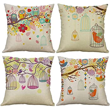 Gspirit 4 Pack búho Jaula árbol Algodón Lino Throw Pillow Case Funda de Almohada para Cojín 45x45 cm: Amazon.es: Hogar