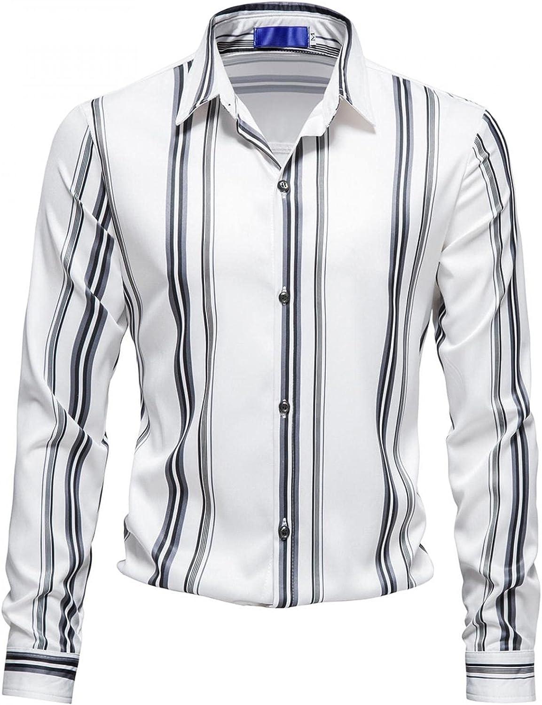 JSPOYOU Men's Striped Shirts Long Sleeve Button Down Regular-Fit Dress Shirt Casual Slim Fit Work Shirt