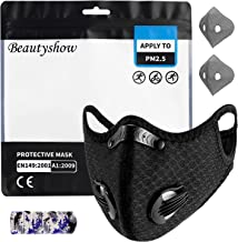 Beautyshow Dust Mask Sports Mask with Replaceable Carbon Filters Face Mouth Mask Protection Masks Anti Pollution for Exhau...