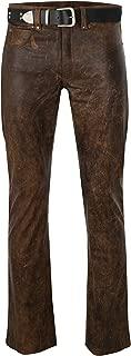 UGFashions Men's Brando Antique Brown Motorcycle Vintage Rider Bell Bottom Slim Fit Leather Pants