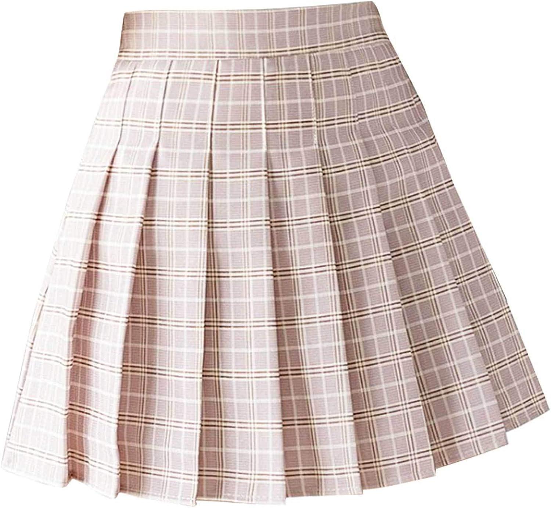 JanJean Women Girls Casual High Waist Plaid Pleated A-line Skirt School Uniform Miniskirt Skater Tennis Skirt