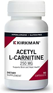 Kirkman Acetyl L-Carnitine 250 mg – Hypoallergenic || 90 Vegetarian Capsules || Tested for More Than 950 Environmental con...