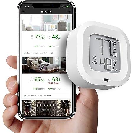 SOOTOP Higrómetro termómetro inalámbrico, Mini Sensor de Temperatura y Humedad Bluetooth 5.0 con exportación de Datos y Alerta, Monitor de Temperatura y Humedad con aplicación