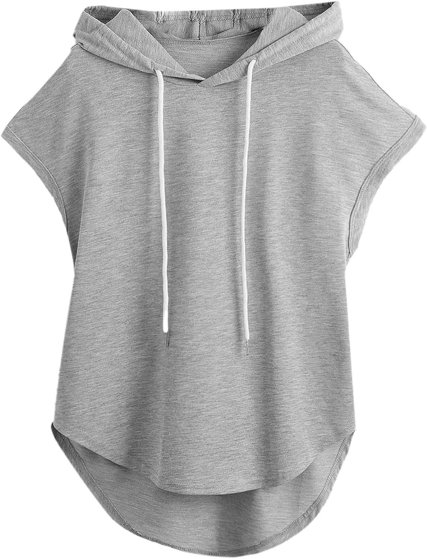 Milumia Women's High Low Hem Cap Sleeve Drawstring Hoodie Sweatshirt Tunic Top